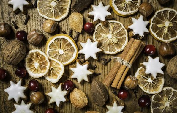 Picture macro, Christmas, cookies, nuts, cinnamon