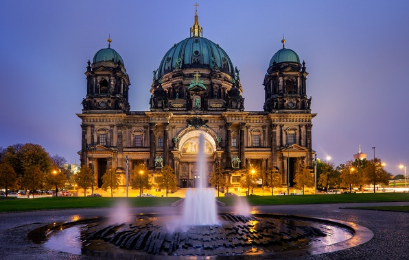 Picture the evening, Germany, fountain, Germany, Berlin, Berlin, Berlin Cathedral, The Berliner Dom