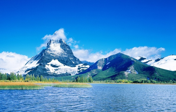 Picture clouds, mountains, blue, lake, 157