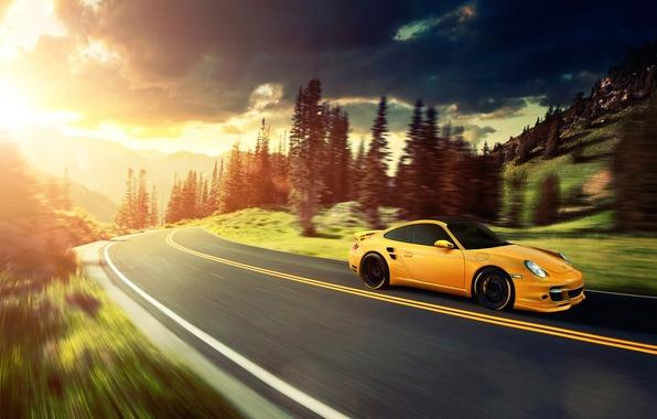 Picture the sun, mountains, yellow, 911, Porsche, Porsche, yellow, Turbo, Ronaldo Stewart