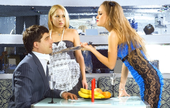 Picture photo, girls, the situation, humor, tie, cafe, Male, jealousy