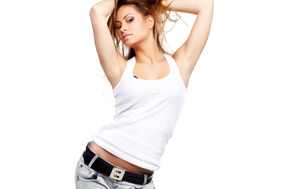 Picture look, girl, pose, hair, jeans, hands, makeup, Mike, blonde, white background