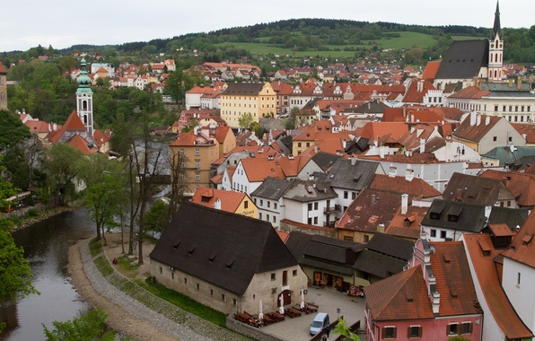 Picture the sky, trees, river, tower, home, Czech Republic, Cesky Krumlov
