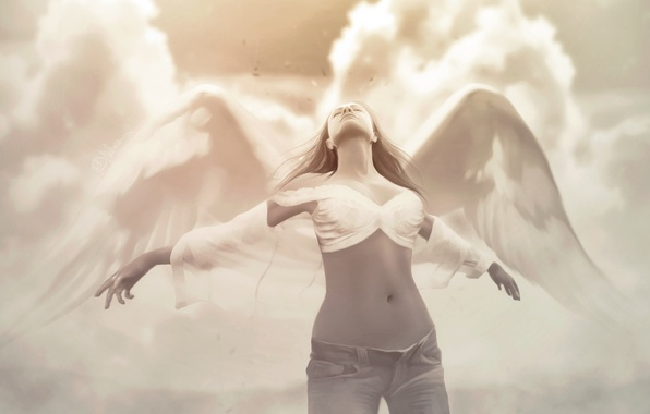 Picture girl, clouds, wings, jeans, angel