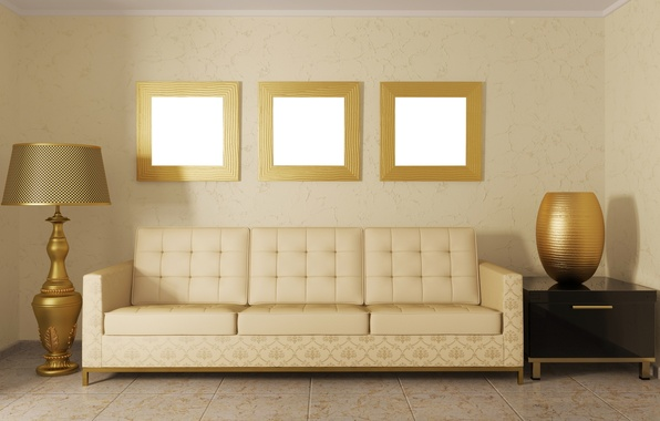 Picture design, room, sofa, furniture, color, lamp, interior, pillow, beautiful, vase, gold, mirror, lampshade, majestic, frame