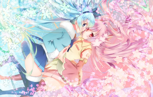 Picture flowers, snowflakes, girls, anime, Sakura, art, vocaloid, sakura, mike, yuki miku