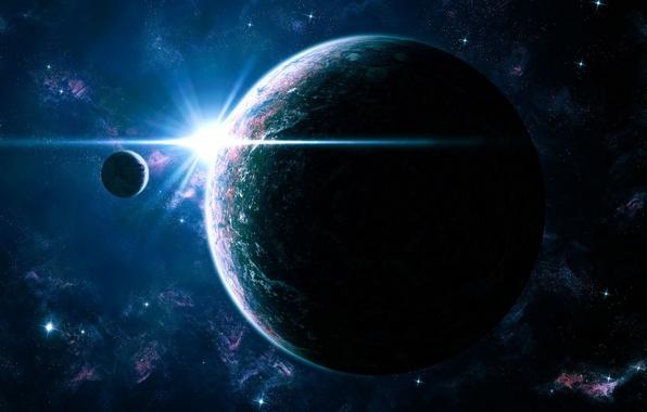 Picture light, satellite, Galaxy, Stars, Planet