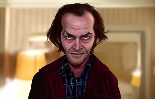 Picture face, lights, Jack Nicholson, art, The Shining, Stanley Kubrick, Jack Torrance