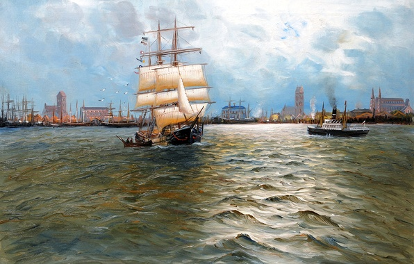 Picture sea, the sky, landscape, the city, ship, sailboat, picture, port, steamer, Alfred Jansen