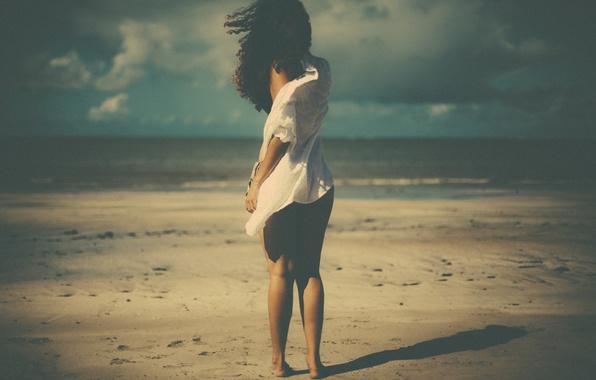 Photo wallpaper shadow, wind, beach, girl