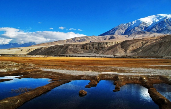 Picture the sky, clouds, mountains, lake, Pamir