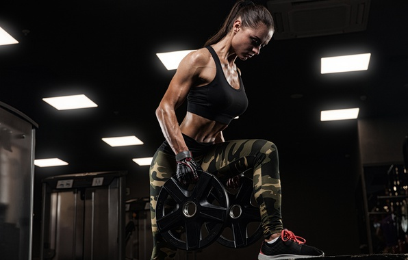 Photo Wallpaper Female Workout Fitness Gym Disk Weight