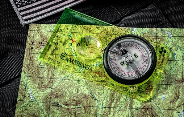 Picture background, map, arrow, figures, compass