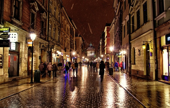 Picture the city, people, rain, street, home, the evening, lighting, Poland, stores, Russia, Krakow, Krakow