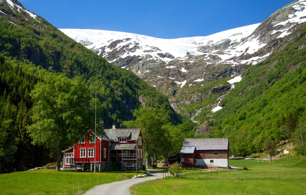 Picture road, grass, snow, trees, mountains, house, glade, Norway, Sunny, Give