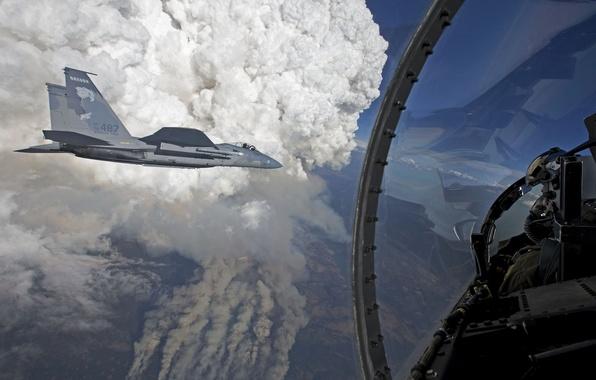 """Picture flight, fighters, cabin, pilot, Eagle, F-15, """"Eagle"""""""