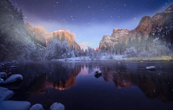 Photo wallpaper winter, mountains, river, snow