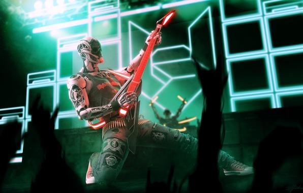 Picture music, guitar, robot, concert, Marco Plouffe, Rockerbot