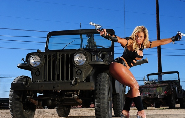 Picture Wire, blonde, Weapons, Jeep