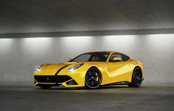 Picture yellow, Parking, ferrari, Ferrari, yellow, headlights, F12 berlinetta, F12 Berlinetta