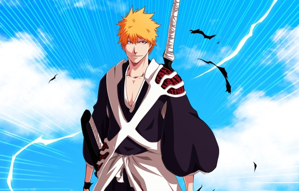 Picture look, sword, anime, guy, bleach, blonde, shinigami