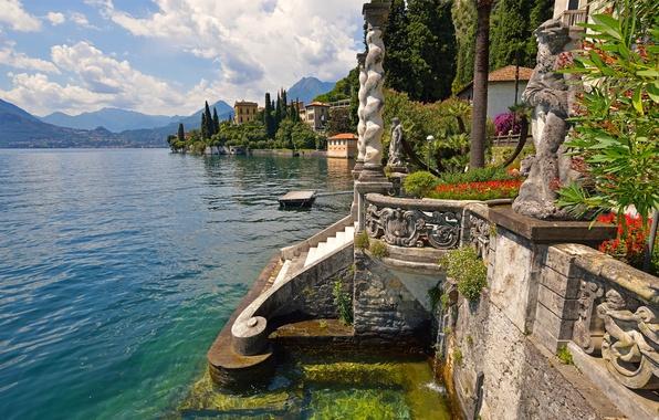 Picture flowers, mountains, lake, Villa, home, Italy, stage, statue, Varenna, Villa Monastero