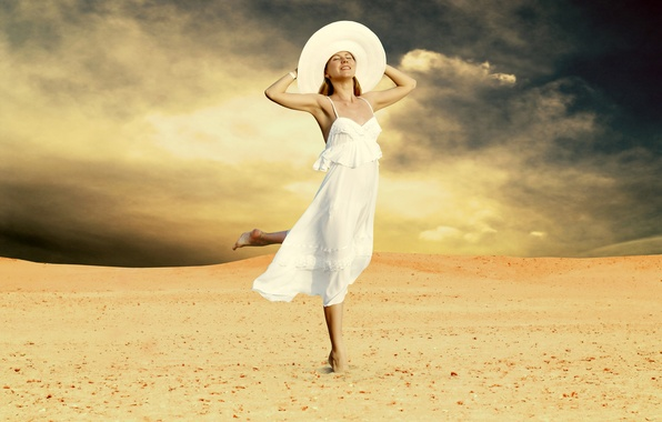 Picture sand, girl, joy, clouds, barefoot, dress, blonde, hat