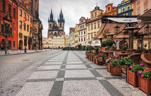 Picture the city, building, Prague, Czech Republic, area, cafe, architecture, Prague, The Czech Republic, Praha, Old …