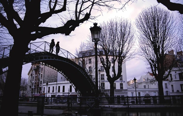 Picture autumn, trees, bridge, the city, photo, people, Wallpaper, building, home, the evening, lights, architecture, weather