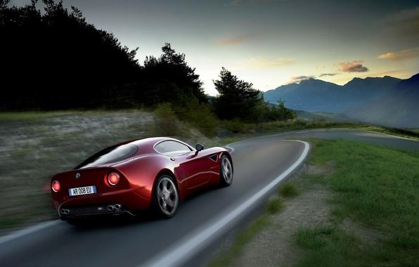 Picture road, mountains, red, speed, alfa romeo, 8c competizione