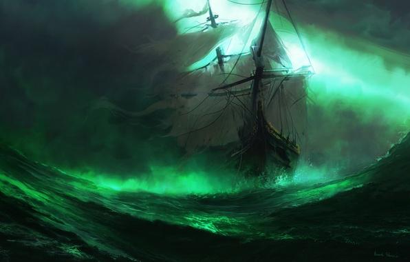 Picture sea, wave, fog, ship, art, sails