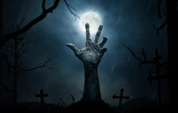 Picture night, the moon, crosses, graves, hand, cemetery, Halloween, horror, the churchyard, to freedom