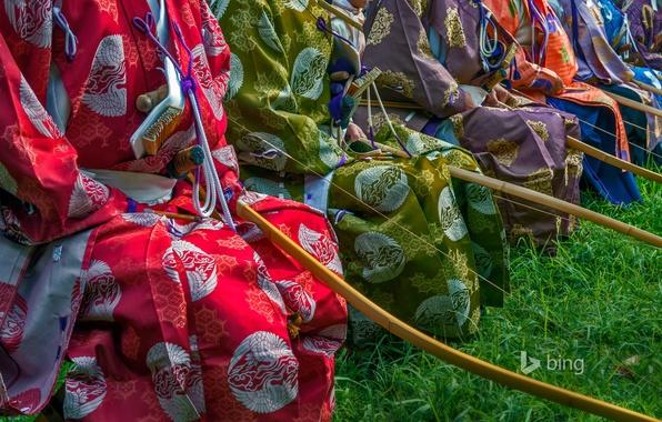 Picture paint, Japan, Tokyo, costume, kimono, archers, Meiji Shrine