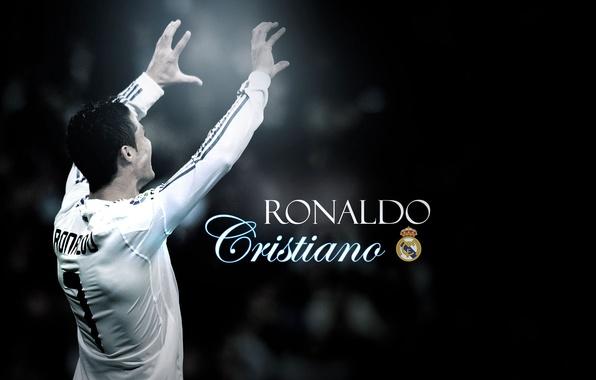 Picture football, Ronaldo, real madrid, football, ronaldo, cristiano ronaldo, the dark background, cristiano, black and white …