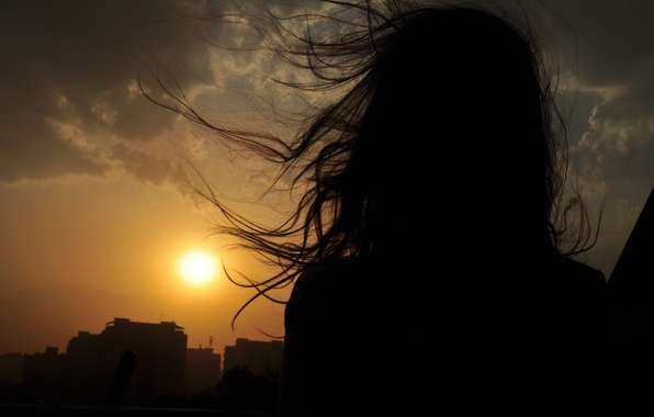 Picture the sky, girl, landscape, sunset, the wind, hair