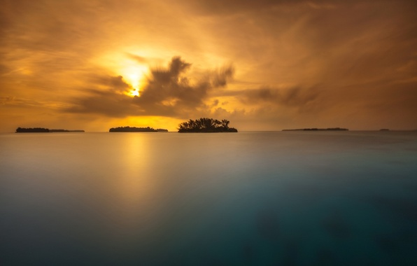 Picture the sky, clouds, trees, sunset, lake, island