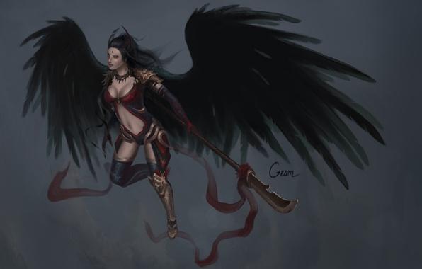 Picture look, girl, weapons, background, art, fallen angel, black wings
