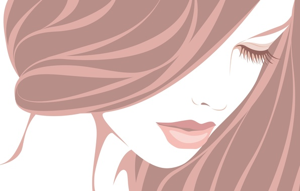 Picture girl, eyelashes, hair, vector, closed eyes