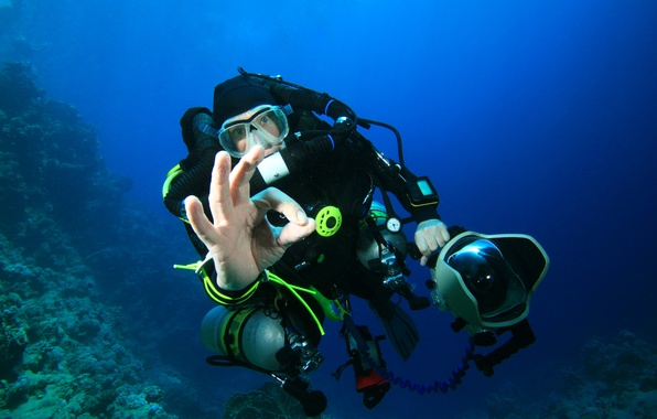 Picture man, diving, snorkeling gear
