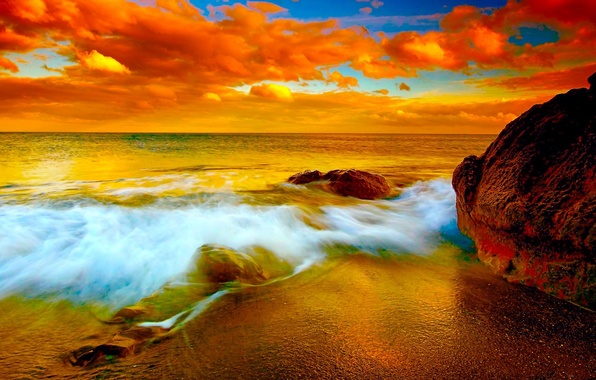 Picture SEA, HORIZON, The OCEAN, The SKY, SURF, WAVE, SUNSET, FOAM, DAWN, ROCKS, ALAKA, RIFI
