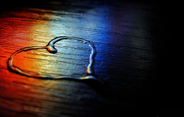 Picture water, blue, red, background, black, heart