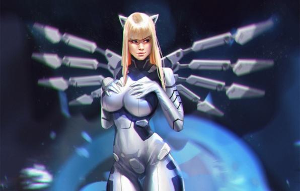 Picture girl, fiction, costume, cyborg, cyberpunk