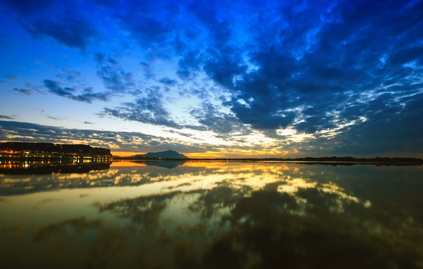 Picture the sky, water, the sun, clouds, landscape, nature, lake, reflection, dawn, sky, landscape, nature, water, ...