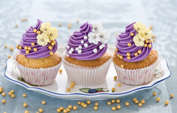Picture flowers, food, sweets, cream, dessert, flowers, cakes, dish, cupcakes, cream, sweets, dessert, muffins, dish, pastries