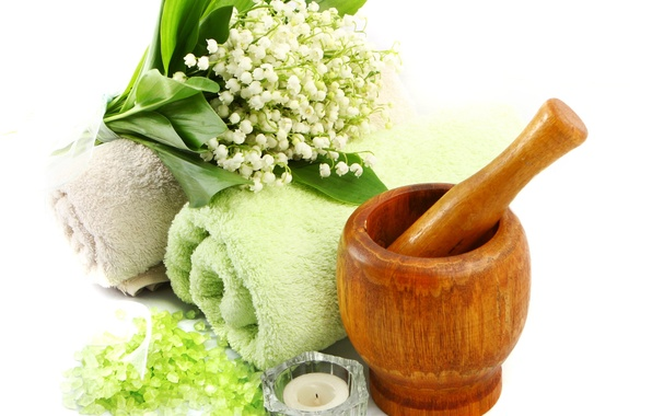 Picture candle, towel, Lilies of the valley, sea salt, mortar for grinding herbs