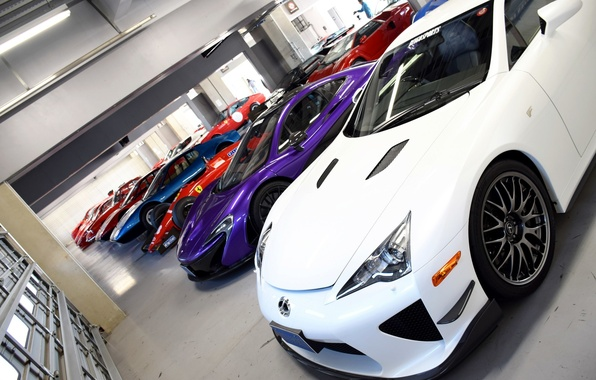 Picture McLaren, garage, Lexus, Ferrari, garage, LFA, P1