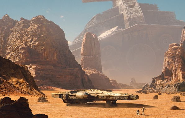 Picture mountains, rocks, desert, robot, star wars, Star Destroyer, spaceship, cruiser, millenium falcon, R2-D2, Millennium Falcon, …