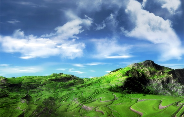 Photo wallpaper greens, the sky, mountains