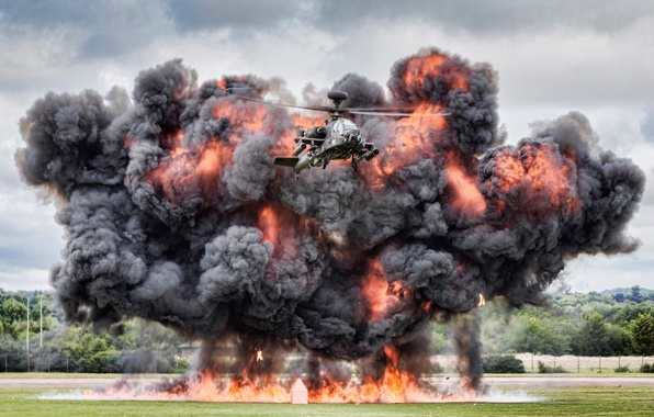 """Picture the explosion, helicopter, Apache, shock, AH-64, main, """"Apache"""""""