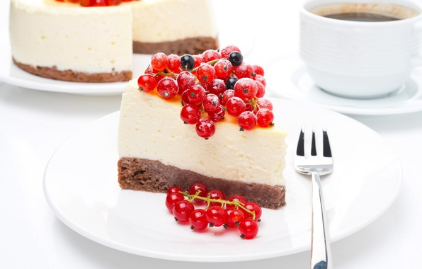 Picture berries, coffee, Cup, sweets, cake, cake, red, dessert, currants, cheesecake, piece